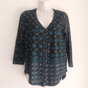 Lucky Brand Long Sleeve Button Up Boho Top